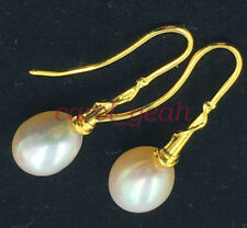 Luxury AAA natural 11-12MM HUGE south sea pearl earrings 18K GOLD CLASP