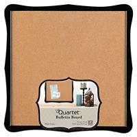 "Quartet Bulletin Board, Cork, 14"" x 14"", Home Organization, Black Frame 50722"