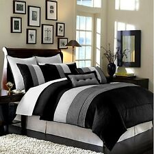 Luxury Stripe Bedding Black Grey and White Queen Size 8 Piece Comforter Set
