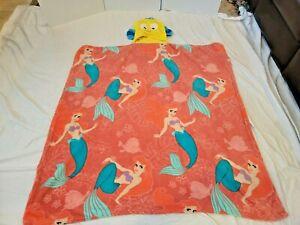 "Disney Store The Little Mermaid ARIEL Flounder PLUSH Hooded BLANKET 50"""