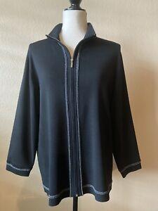 Chico's Black W/ Metallic Silver Trim - Zip Front Knit Jacket Size 3 (XL) EUC