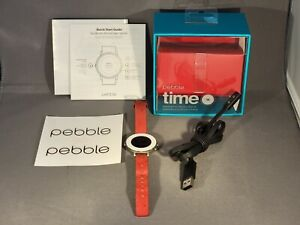 Pebble Time Round Smartwatch 14mm Silver Stainless Steel Red Leather Band