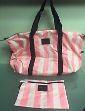 Victoria Secret Duffle Pink Striped  Weekender Tote Bag w/ Detachable Clutch NWT