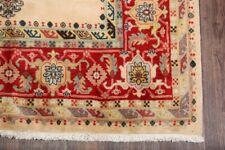 6x9 Geometric Cream Ardebil Oriental Area Rug Hand-Knotted Room Size Carpet Wool