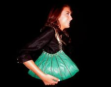 COUTURE DESIGNER BLISS LAU EMERALD GREEN Leather Studded Purse Bag MOTORCYCLE