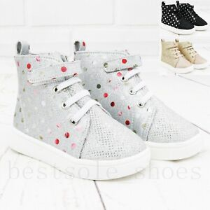 KIDS GIRLS HIGH TOPS WALK TRAINERS INFANTS GLITTER CANVAS ANKLE BOOTS SHOES 3-7