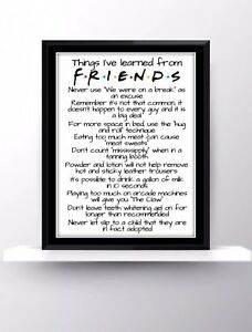 Friends Quotes Tv Series Show Poster Print Wall Hanging Decor Fan Art Love Gift