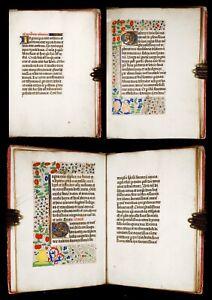 1465 ILLUMINATED Manuscript VIRGIN PRAYERS, Gospel Readings BOOK OF HOURS vellum