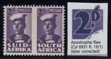 "South Africa, SG 100c, MHR pair ""Apostrophe Flaw"" variety"