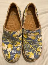 Dansko Floral Slip Resistant Clogs Blue/Yellow Size 39 Victoria Canvas