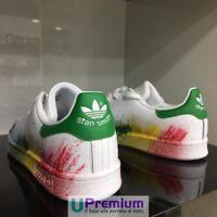 Adidas Stan Smith Bianco Verde Sfumate Schizzate [Prodotto Customizzato] Scarpe
