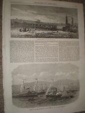 Panmure Bridge Auckland New Zealand & new graving dock Belfast 1867 old prints