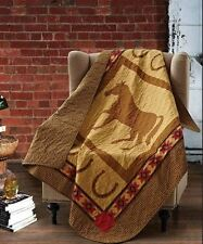 COUNTRY WESTERN HORSE QUILT THROW : COWBOY HORSESHOE BROWN SOUTHWESTERN BLANKET