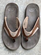 Reef Leather Fanning Flip Flops Men's Size 10 Brown Sandals Bottle Opener