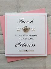 Personalised Handmade Princess Crown Girls Birthday Card (1st 2nd 3rd 4th 5th)