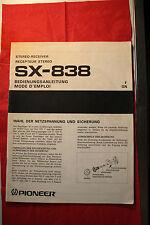 Pioneer sx-838 Receiver Original Manuel D'utilisation Incl. Grande-Schéma