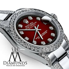Women's 31mm Rolex SS Oyster Perpetual Datejust Custom Red Diamonds Dial Accent