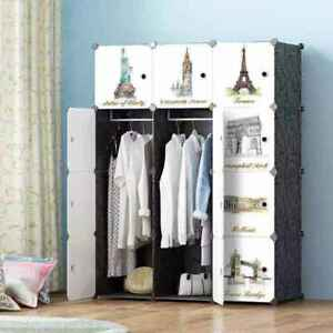 Large Wardrobe Open Storage Cabinet Hanging Rod Toys Clothes Shoe Rack