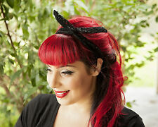 Black Lace Hairband Retro 50's Rockabilly hair tie W/ small end
