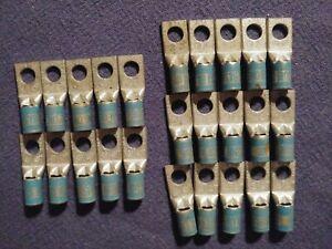 "25 THOMAS BETTS 54105 1-Hole COPPER LUG Short Barrel 1/4"" Bolt, Blue 24, 6 str"