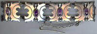 VINTAGE 1940'S WEIGHTY MEXICAN STERLING SILVER & AMETHYST BRACELET