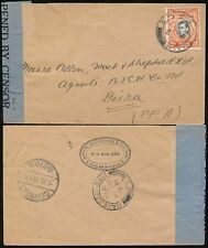 KUT TANGANYIKA to MOZAMBIQUE 1941 BLUE CENSOR TAPE SINGLE 20c...SMITH MACKENZIE