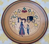 "Pennsbury Pottery 8"" Plate Wall Hanging Amish Family Horse Buggy Heart PA Dutch"