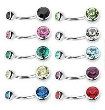 10pc Lot 14G 11mm Belly Button Ring Double Jeweled Gem Navel Ring Surgical Steel