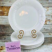 Libbey Dinnerware LIE18 Solid White Fruit Embossed Rid Rims Dinner Plates Set 4