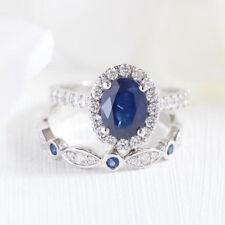 Chic Women Blue Sapphire Silver Ring Set Wedding Engagement Jewelry Gift Sz 6-10