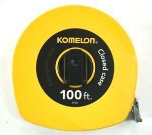 Komelon Closed Case Fiberglass Tape Yellow 100 Ft Tape Measure Folding Hook 3100