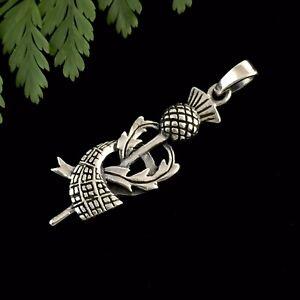 Unusual Scottish Thistle Tartan Scarf Sterling Silver 925 Pendant