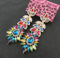 Women's Colorful Glass Crystal Flower Leaf Betsey Johnson Drop Earrings