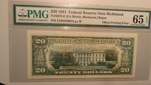 $20 1981 FRN OFFSET O/P BACK ERROR W/MISMATCHED SERIAL NUMBERS!!! PMG 65EPQ R7+