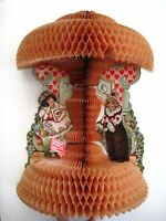 Vintage Mechanical Honeycomb Valentine w/ A Girl Clown & Girl w/ Basket *