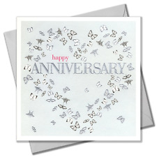 Wedding Card, Heart of butterflies, Happy Anniversary, Embossed and Foiled text