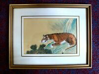 Vintage Chinese watercolour Tiger painting Red Chop signed Chinese 1 protective
