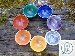 Crystal 7 Chakra 2'' Hand Carved Bowls Natural Gemstones Healing Meditation