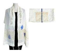 "Raw silk Tallit Tallis + Bag + Atara Blue Flowers Hand MADE IN ISRAEL 72"" x 20"""