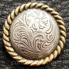 WESTERN HORSE SADDLE HORN CAP ANTIQUE GOLD ROUND ROPE EDGE CONCHO 2-3/8""