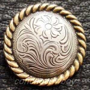 "WESTERN HORSE SADDLE HORN CAP ANTIQUE GOLD ROUND ROPE EDGE CONCHO 2-3/8"""