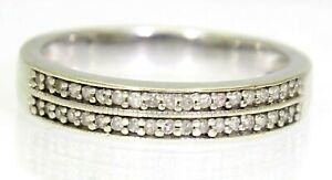 Pretty 0.15ct Diamond Double Row Half Eternity 9ct white gold ring size K ~5 1/4