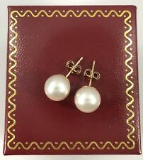 Classic Genuine Cultured 8mm Round Pearl Stud Earrings, Solid 14kt Gold, New
