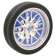 123177 FORD ANALOGUE LED TYRE CLOCK 25.5cm DIAMETER WITH ROTATING LOGO 4x AA