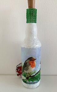 Handmade decoupage light up Robin Bottle. lovely mothers day gift