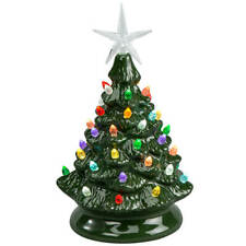 "9 "" Tall Battery-Operated Vintage-Style Green Ceramic Tree Christmas Decoration"