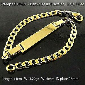 ID Bracelet 18K Yellow Gold Filled initial Identification Baby Kids Size Bangle