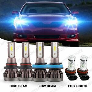 9007+9005 120000lm LED Headlights Fog Light Bulbs 4pcs 8000k Ice Blue COMBO Kit