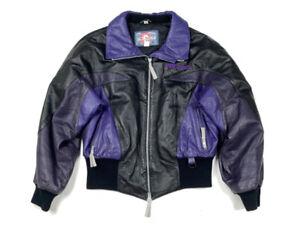 VTG Polaris Black Purple Leather Full-Zip Snowmobile Jacket Insulated 90s L