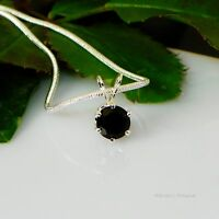 Black Onyx Round Sterling Silver Pendant  w/ Snake Chain Necklace